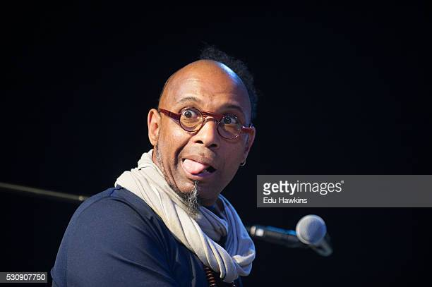 Omar Sosa pulls a face for the photographers at the Cheltenham Jazz Festival on April 30 2016 in Cheltenham England