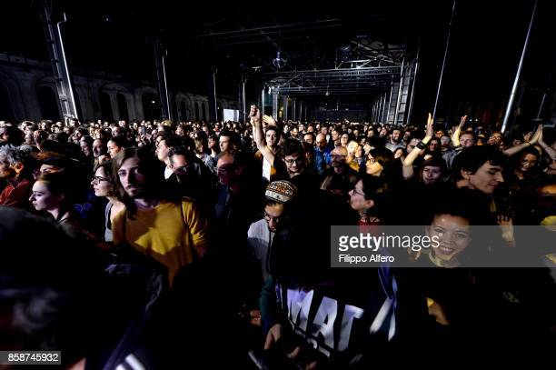 Omar Souleyman fans during his performs at the OGR Big Bang event on October 7 2017 in Turin Italy