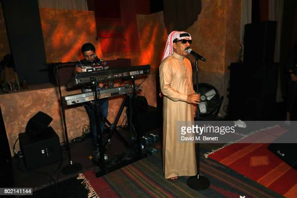 Omar Souleyman performs at the launch of Skepta's new fashion label 'Mains' at Selfridges on June 27 2017 in London England