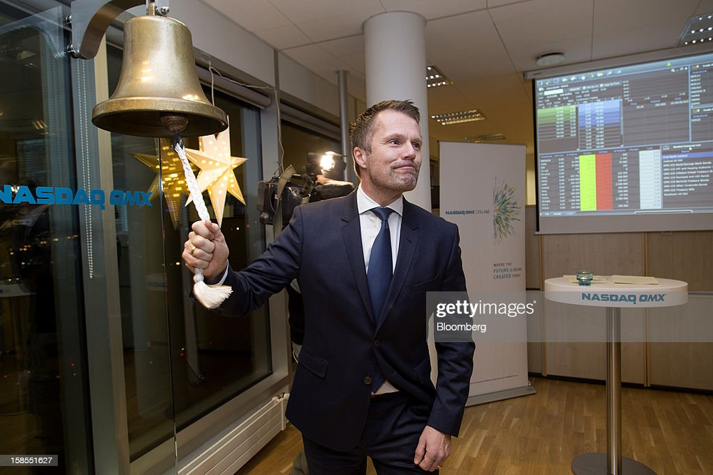 Omar Svavarsson, president of Vodafone Iceland Fjarskipti hf, rings the opening bell at the Nasdaq OMX stock exchange during an initial public offering event in Reykjavik, Iceland, in this handout photo taken and released to the media on Tuesday, Dec. 18, 2012. The second-largest phone carrier on the island, a franchisee of Vodafone Group Plc, will start trading today in Reykjavik after its largest owner sold 60 percent in a 6.3 billion kronur ($50 million) initial public offering. Photographer: Arnaldur Halldorsson/OMX via Bloomberg EDITOR