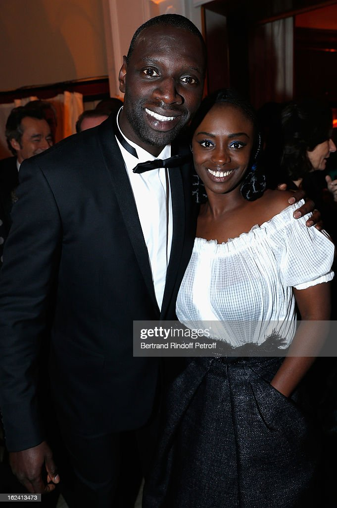 Omar Sy and Aissa Maiga attend the Cesar Film Awards 2013 at Le Fouquet's on February 22, 2013 in Paris, France.