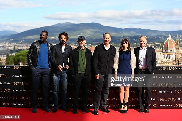 Omar Sy Irrfan Khan Ron Howard Tom Hanks Felicity Jones and Dan Brown attend a photocall for 'Inferno' at Forte Belvedere on October 7 2016 in...