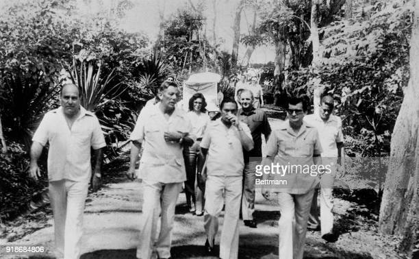 Omar Torrijos 2nd from left after visiting former Shah in this tropical island From left Gabriel Lewis owner of the two houses where the Shah and his...