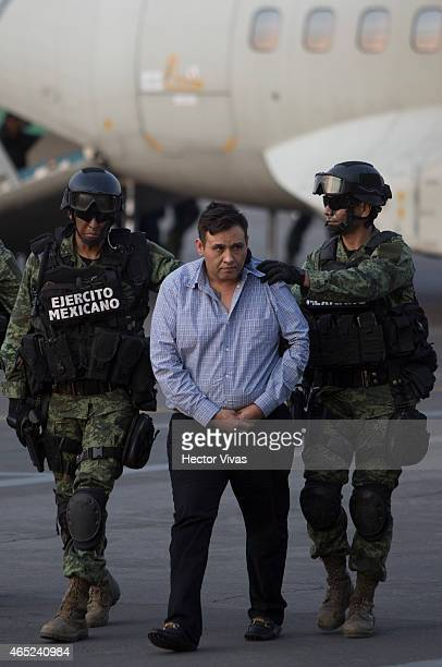 "Omar Trevino alias ""El Z-42"" leader of criminal organisation ""Los Zetas"" is presented by Mexican Army after his arrest in the Mexican State of Nuevo..."