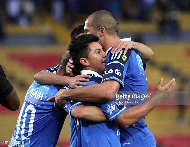 Omar Vasquez of Millonarios celebrates a scored goal against Envigado during a match between Millonarios and Envigado as part of the Liga Postobon...
