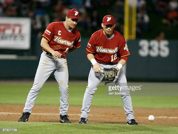 Omar Vizquel and Marco Scutaro of Venezuala warmup before the game against Australia on Thursday March 9 2006 at Disney's Wide World of Sports...