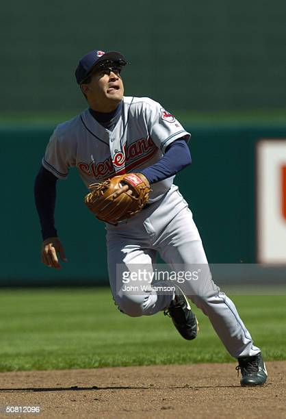 Omar Vizquel of the Cleveland Indians looks to field a pop fly during the MLB game against the Kansas City Royals at Kauffman Stadium on April 8 2004...