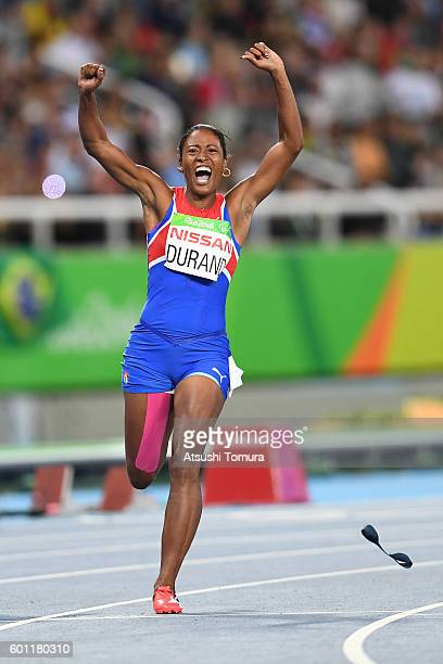 Omara Durand of Cuba celebrates after winning the women's 100m - T12 final on day 2 of the Rio 2016 Paralympic Games at Olympic Stadium on September...