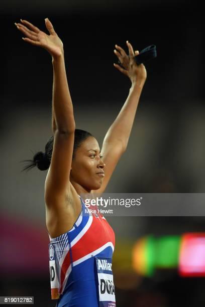 Omara Durand of Cuba celebrates winning the Women's 100m T12 Final during Day Six of the IPC World ParaAthletics Championships 2017 London at London...