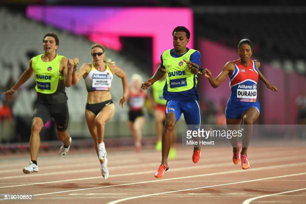 Omara Durand of Cuba crosses the line to win the Women's 100m T12 Final during Day Six of the IPC World ParaAthletics Championships 2017 London at...