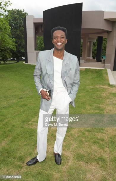 Omari Douglas attends a drinks reception celebrating 2021 BFC/GQ Designer Menswear Fund winner Priya Ahluwalia during London Fashion Week June 2021...