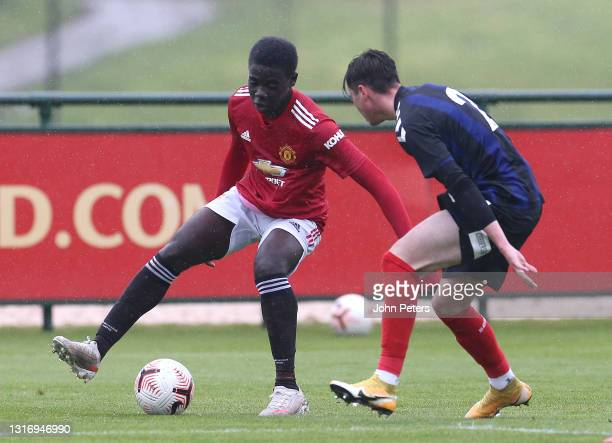 Omari Forson of Manchester United U18s in action during the U18 Premier League match between Manchester United U18s and Middlesbrough U18s at Aon...
