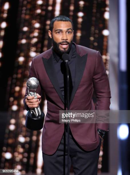 Omari Hardwick accepts the Outstanding Actor in a Drama Series award for 'Power' onstage during the 49th NAACP Image Awards at Pasadena Civic...