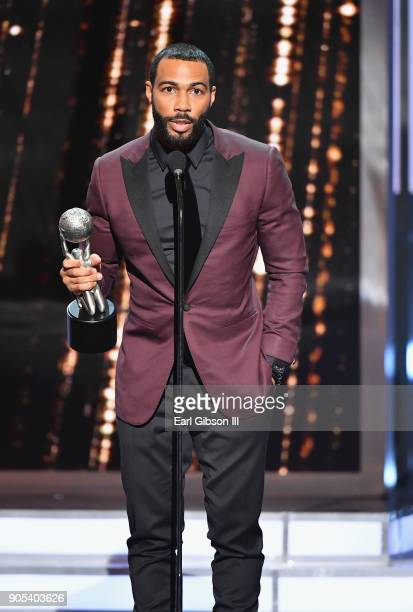 Omari Hardwick accepts the Outstanding Actor in a Drama Series award for 'Power' onstage at the 49th NAACP Image Awards on January 15 2018 in...