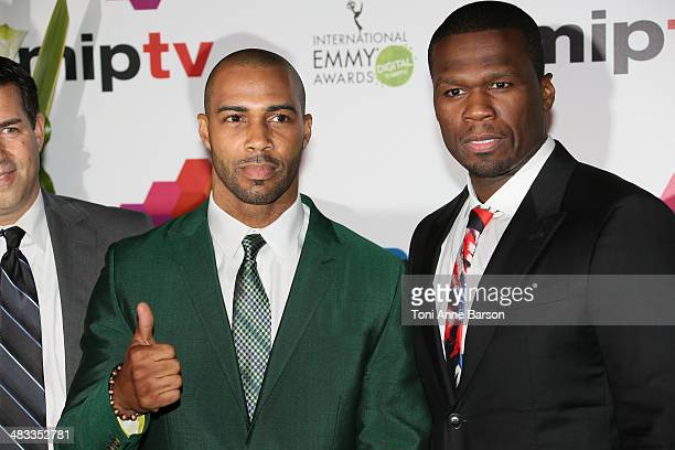 Omari Hardwick and Curtis '50 Cent' Jackson attend MIPTV 2014 Opening Party at Hotel Martinez on April 7 2014 in Cannes France