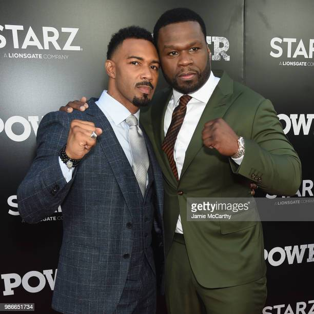 Omari Hardwick and Curtis 50 cent Jackson attend the Starz Power The Fifth Season NYC Red Carpet Premiere Event After Party on June 28 2018 in New...