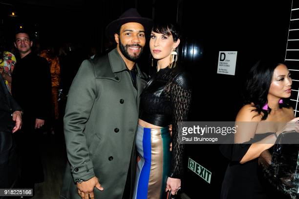 Omari Hardwick and Jennifer Pfautch attend The Cinema Society with Ravage Wines Synchrony host the after party for Marvel Studios' 'Black Panther' at...