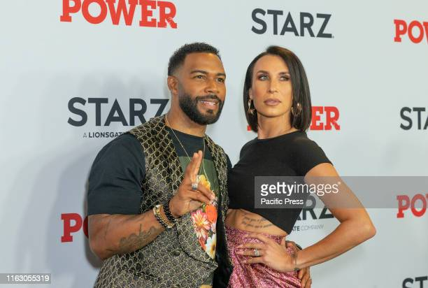 Omari Hardwick and Jennifer Pfautch attends STARZ Power Season 6 premiere at Madison Square Garden.