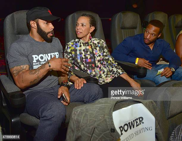 Omari Hardwick and Joyce Hardwick attend season 2 premiere of Power at Regal Atlantic Station on June 4 2015 in Atlanta Georgia