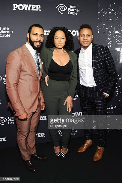 Omari Hardwick Elle Varner and Rotimi Akinosho attend the Power Season Two Series Premiere at Best Buy Theater on June 2 2015 in New York City