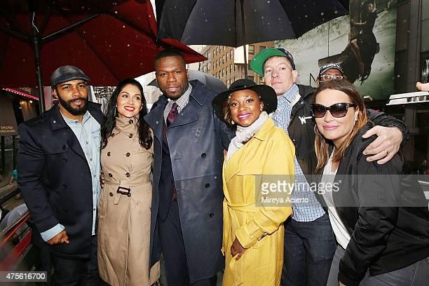 Omari Hardwick Lela Loren 50 Cent Naturi Naughton Joseph Sikora and Angie Martinez the cast of 'Power' hand out tickets to the New York premiere on...