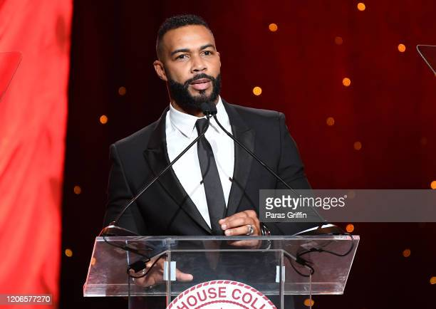 Omari Hardwick speaks onstage during Morehouse College 32nd Annual A Candle In The Dark Gala at the Hyatt Regency Atlanta on February 15 2020 in...