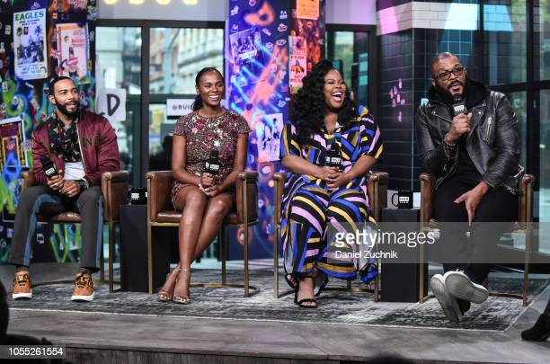 Omari Hardwick Tika Sumpter Amber Riley and Tyler Perry attend the Build Series to discuss the new film 'Nobody's Fool' at Build Studio on October 29...