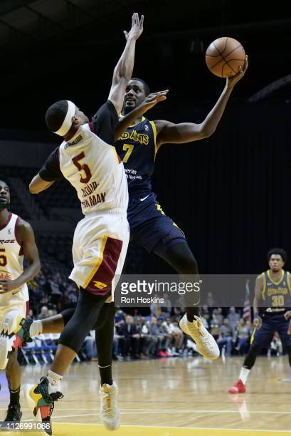 Omari Johnson of the Fort Wayne Mad Ants MuhammadAli AbdurRahkman of the Canton Charge on February 23 2019 at Memorial Coliseum in Fort Wayne Indiana...