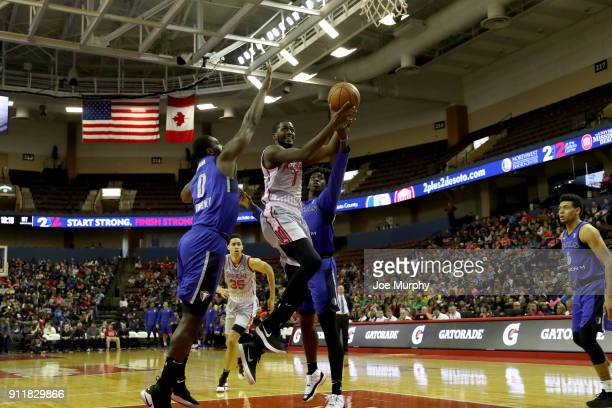 Omari Johnson of the Memphis Hustle drives to the basket against the Memphis Hustle an NBA GLeague game on January 29 2018 at Landers Center in...