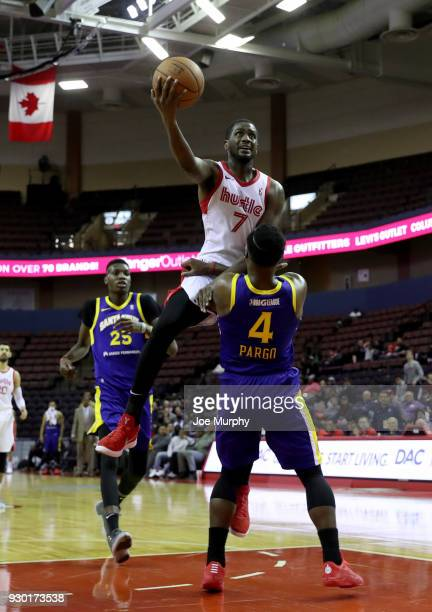Omari Johnson of the Memphis Hustle goes to the basket against the Santa Cruz Warriors during an NBA GLeague game on March 10 2018 at Landers Center...