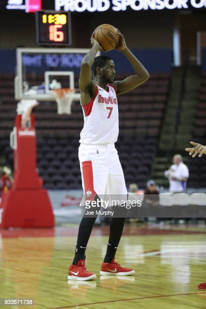 Omari Johnson of the Memphis Hustle handles the ball against Santa Cruz Warriors during an NBA GLeague game on March 10 2018 at Landers Center in...