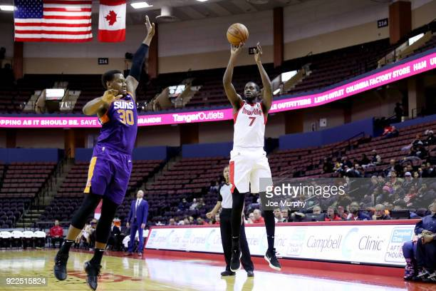 Omari Johnson of the Memphis Hustle shoots the ball against Northern Arizona Suns during an NBA GLeague game on February 21 2018 at Landers Center in...