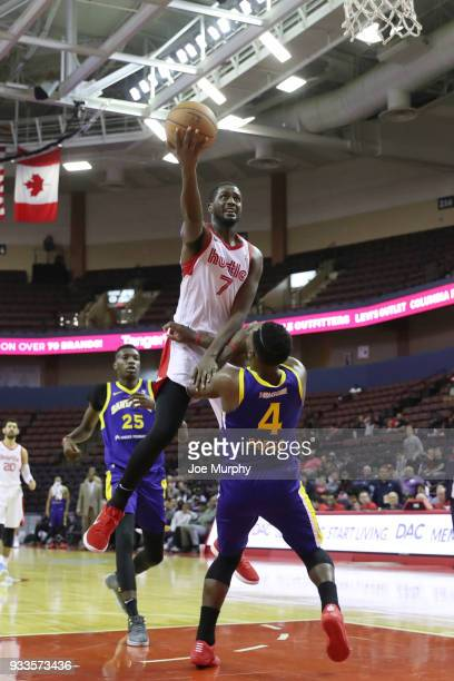 Omari Johnson of the Memphis Hustle shoots the ball against Santa Cruz Warriors during an NBA GLeague game on March 10 2018 at Landers Center in...