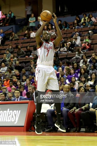 Omari Johnson of the Memphis Hustle shoots the ball against the Texas Legends during an NBA GLeague game on January 29 2018 at Landers Center in...