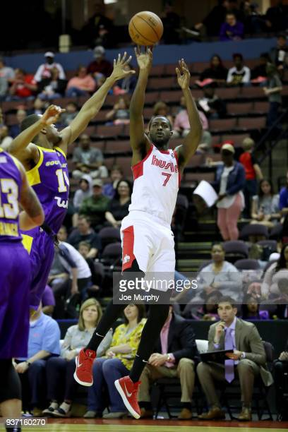 Omari Johnson of the Memphis Hustle shoots the ball during the game against the South Bay Lakers during a NBA GLeague game on March 23 2018 at...