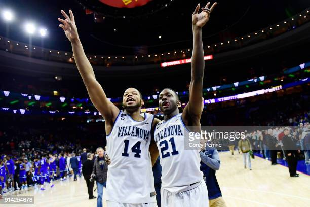 Omari Spellman and Dhamir CosbyRoundtree of the Villanova Wildcats acknowledge the fans after the game at the Wells Fargo Center on February 4 2018...