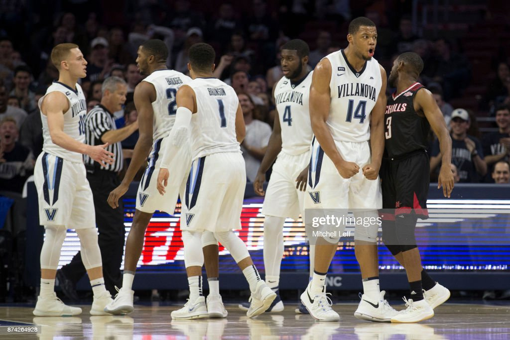 Omari Spellman #14, Donte DiVincenzo #10, Mikal Bridges #25, Jalen Brunson #1, Eric Paschall #4 of the Villanova Wildcats react in front of Lafayette Rutledge #3 of the Nicholls State Colonels in the first half at the Wells Fargo Center on November 14, 2017 in Philadelphia, Pennsylvania.