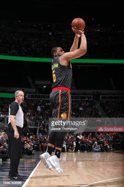 Omari Spellman of the Atlanta Hawks shoots the ball against the Charlotte Hornets on February 9 2019 at State Farm Arena in Atlanta Georgia NOTE TO...