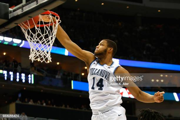 Omari Spellman of the Villanova Wildcats dunks the ball against the Alabama Crimson Tide during the first half in the second round of the 2018 NCAA...