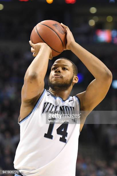 Omari Spellman of the Villanova Wildcats takes a foul shot during the 2018 NCAA Men's Basketball Tournament East Regional against the West Virginia...