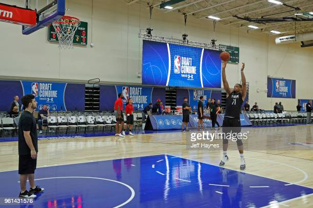 Omari Spellman shoots a foul shot during the NBA Draft Combine Day 1 at the Quest Multisport Center on May 17 2018 in Chicago Illinois NOTE TO USER...