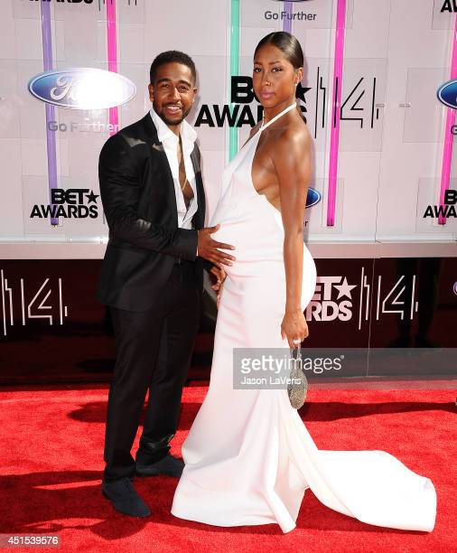 Omarion and Apryl Jones attend the 2014 BET Awards at Nokia Plaza LA LIVE on June 29 2014 in Los Angeles California