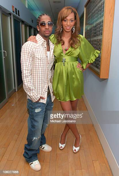 Omarion and Solange Knowles during Solange Knowles Mario Vazquez and Omarion Visit MTV's TRL August 8 2006 at MTV Studios Times Square in New York...