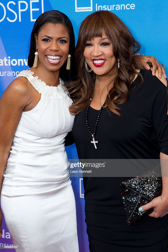 Omarosa and Kim Whitley arrives at the BET Network's 13th Annual 'Celebration of Gospel' at Orpheum Theatre on March 16, 2013 in Los Angeles, California.
