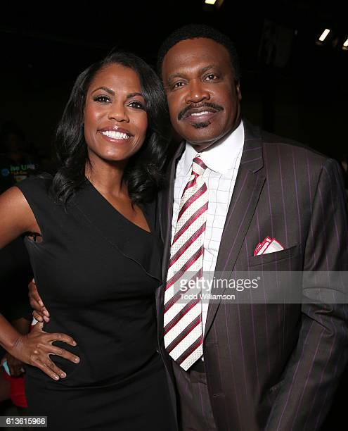 Omarosa Manigault and Bishop Kenneth Ulmer attend the Inform Your Vote President Election Debate at The Tabernacle on October 8 2016 in Inglewood...