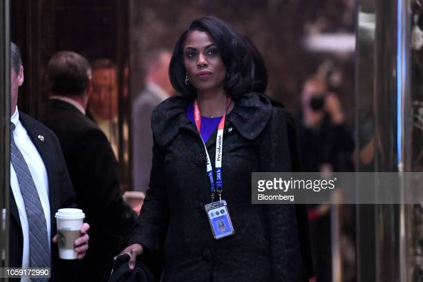 Omarosa Manigault director of African American outreach for Presidentelect Donald Trump arrives in the lobby of Trump Tower in New York US on Monday...