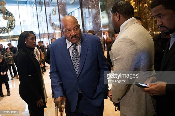 Omarosa Manigault former professional football player Jim Brown former professional football player Ray Lewis and Pastor Darrell Scott prepare to...