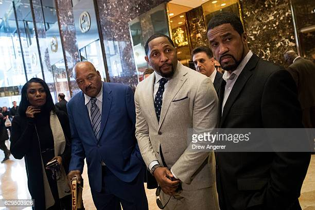 Omarosa Manigault former professional football player Jim Brown former professional football player Ray Lewis and Pastor Darrell Scott speak to...