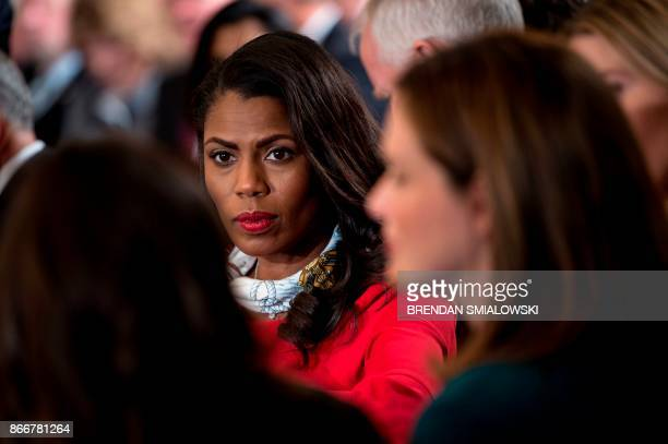 Omarosa Manigault White House Director of Communications for the Office of Public Liaison waits to hear the US President speak on combatting drug...