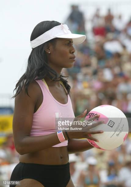 Omarosa ManigaultStallworth during AVP Hermosa Beach Open Celebrity Match July 25 2004 at Hermosa Beach in Hermosa Beach California United States